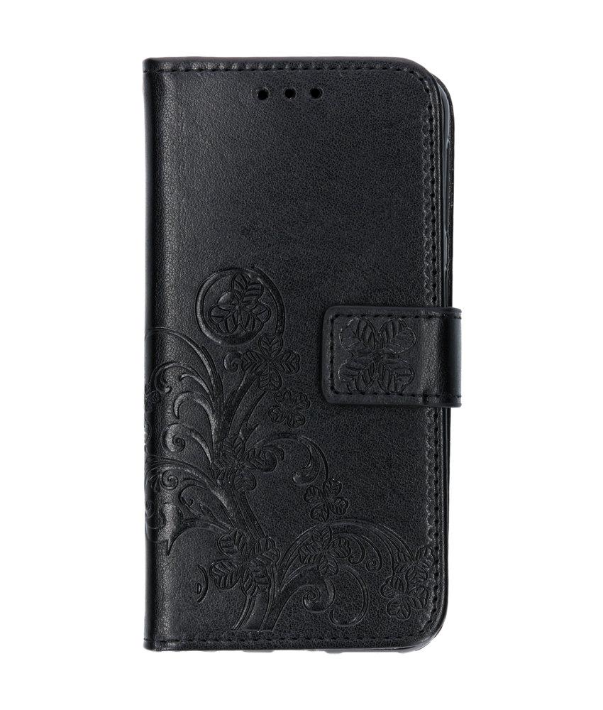 Klavertje Bloemen Booktype Samsung Galaxy A40 - Zwart