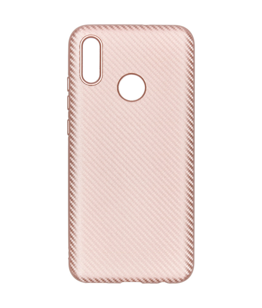 Carbon Softcase Backcover Huawei P Smart (2019) - Rosé Goud