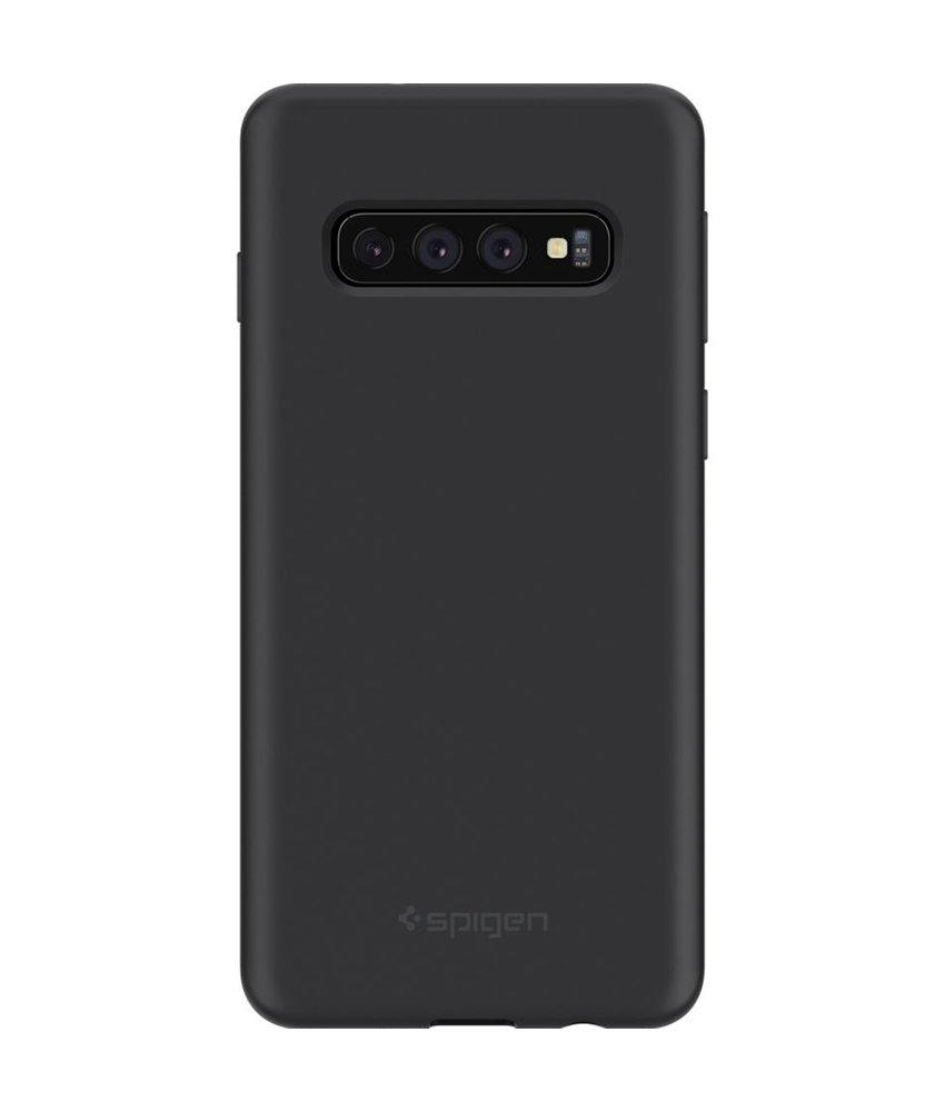 Spigen Silicone Fit Backcover Samsung Galaxy S10 - Zwart