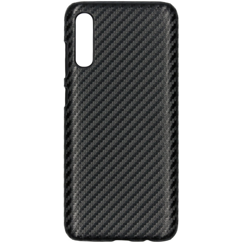Carbon Hardcase Backcover Samsung Galaxy A70 - Zwart