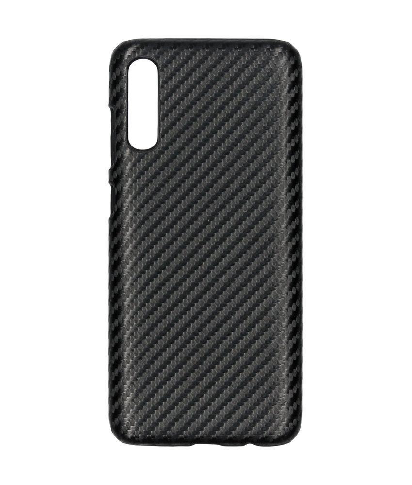 Carbon Hardcase Backcover Samsung Galaxy A70 - Zwart
