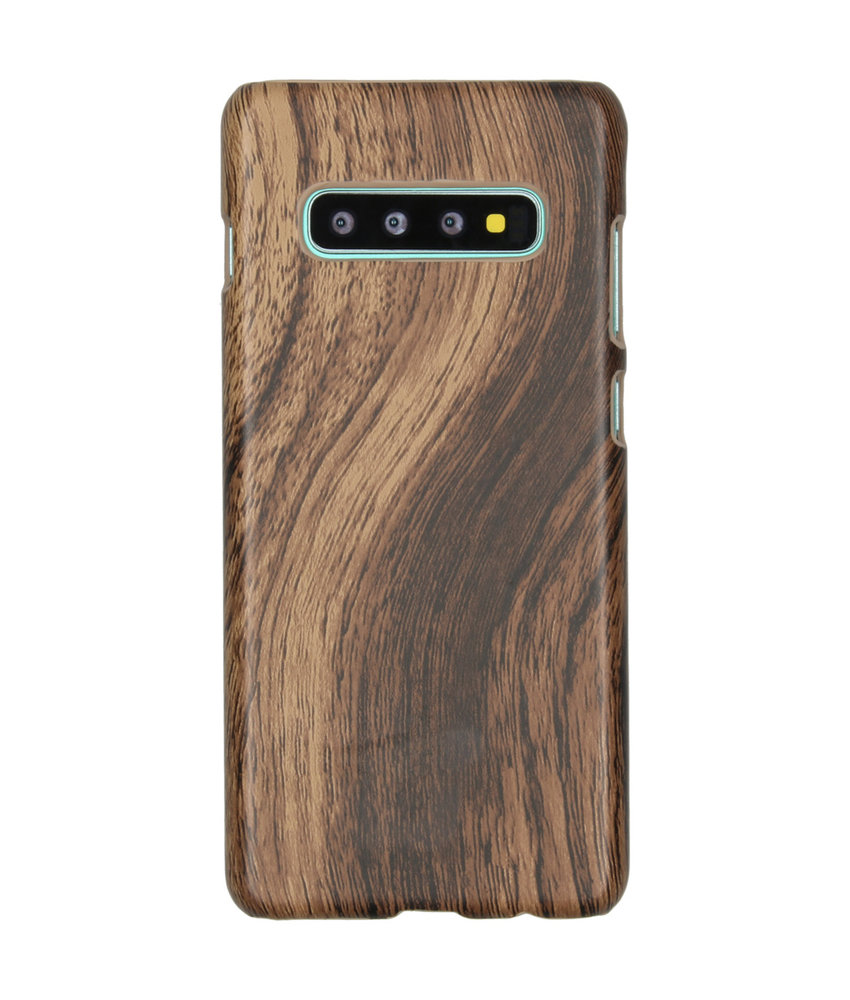 Hout Design Backcover Samsung Galaxy S10 Plus - Bruin