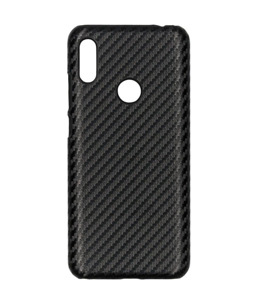 Carbon Hardcase Backcover Huawei Y6 (2019) - Zwart