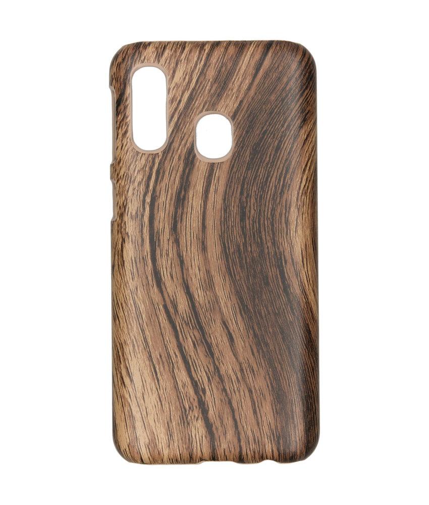 Hout Design Backcover Samsung Galaxy A40 - Bruin