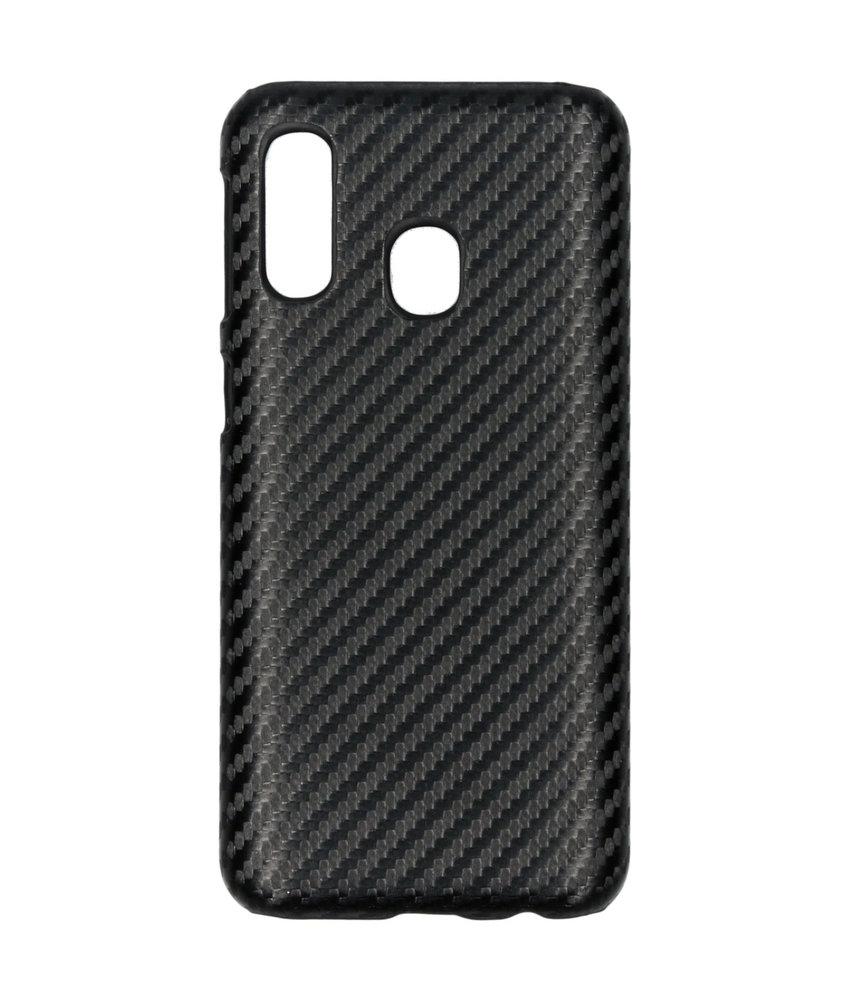 Carbon Hardcase Backcover Samsung Galaxy A40 - Zwart