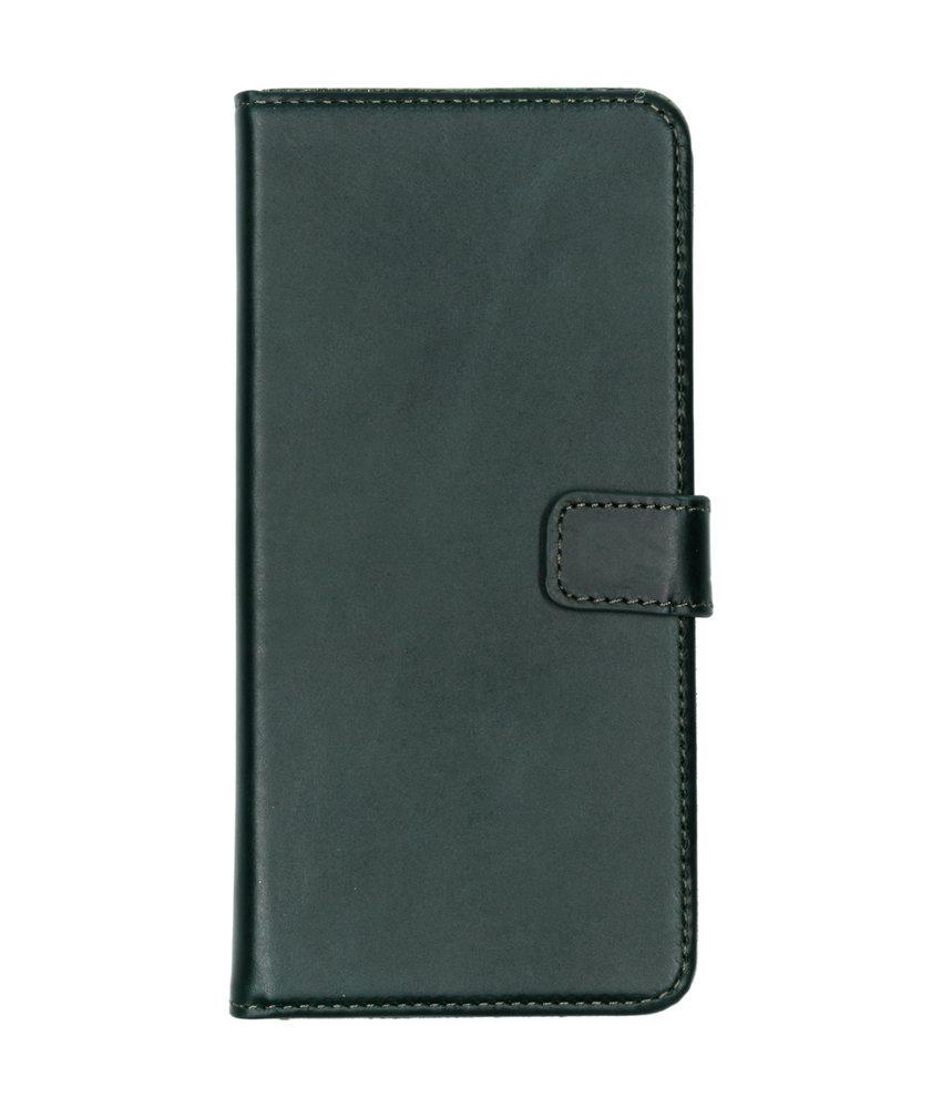 Selencia Echt Lederen Booktype Samsung Galaxy A70 - Groen