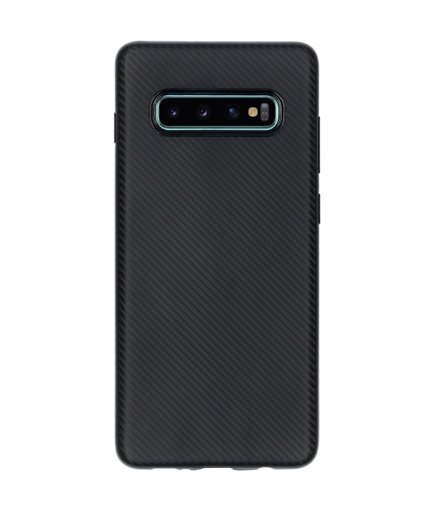 Carbon Softcase Backcover Galaxy S10 Plus - Zwart