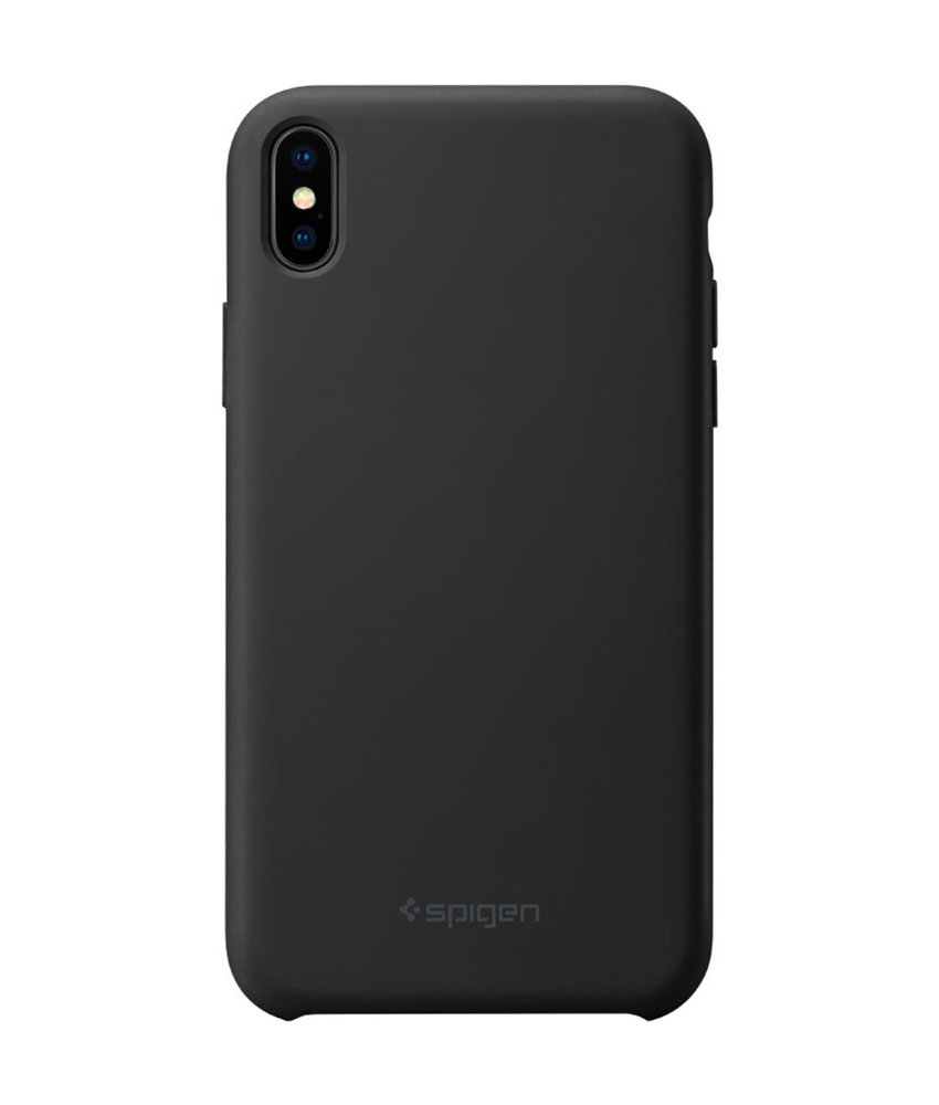 Spigen Silicone Fit Backcover iPhone Xs Max - Zwart