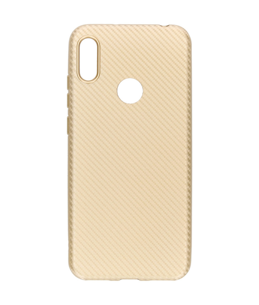 Carbon Softcase Backcover Huawei Y6 (2019) - Goud
