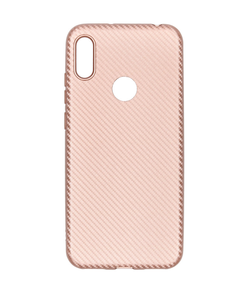 Carbon Softcase Backcover Huawei Y6 (2019) - Rosé Goud