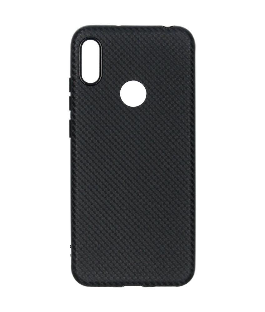 Carbon Softcase Backcover Huawei Y6 (2019) - Zwart