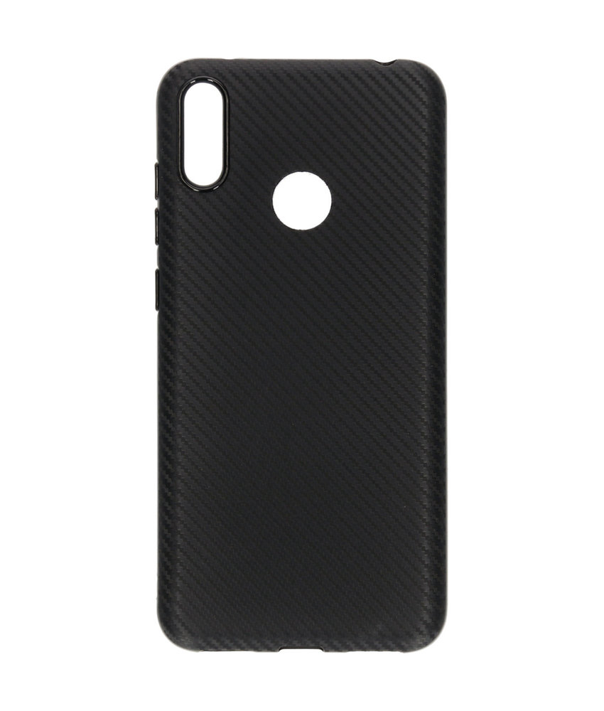Carbon Softcase Backcover Huawei Y7 (2019) - Zwart