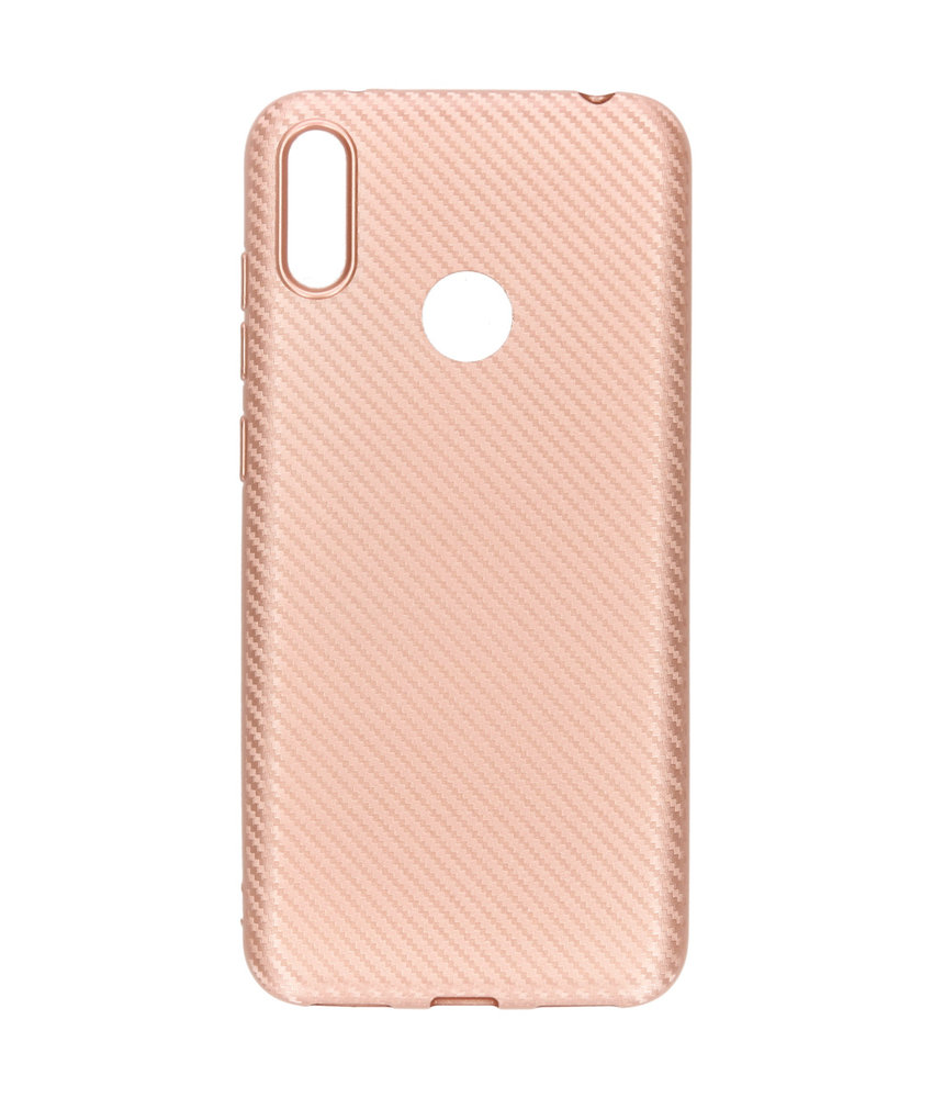 Carbon Softcase Backcover Huawei Y7 (2019) - Rosé Goud