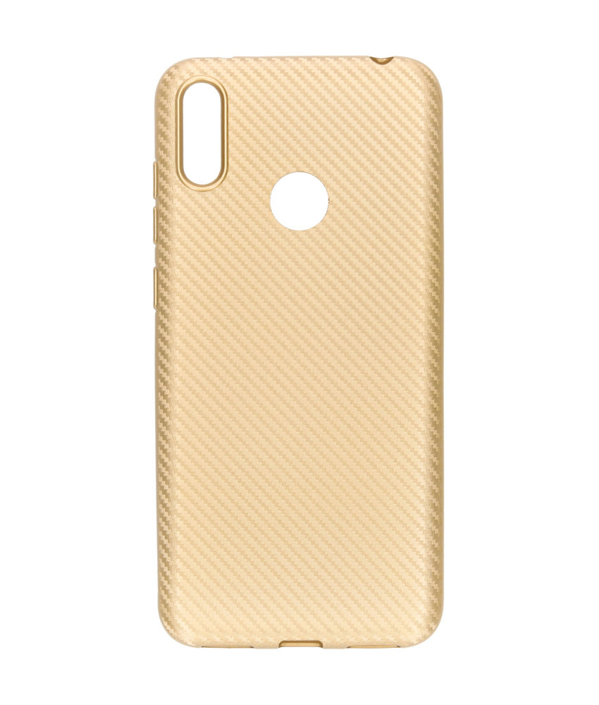 Carbon Softcase Backcover Huawei Y7 (2019) - Goud