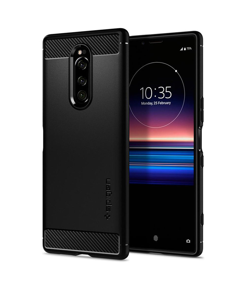 Spigen Rugged Armor Backcover Sony Xperia 1 - Zwart