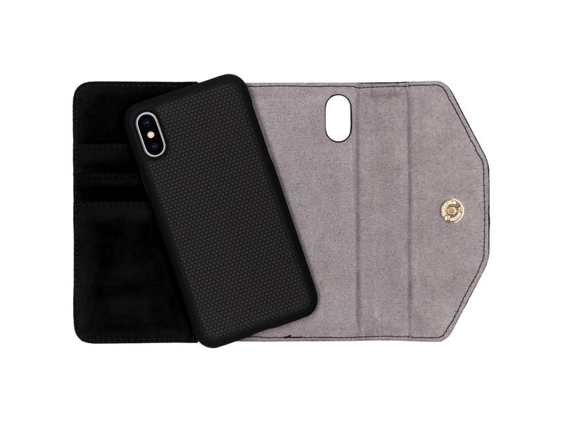 iDeal of Sweden Mayfair Clutch Velvet voor de iPhone Xs / X - Zwart
