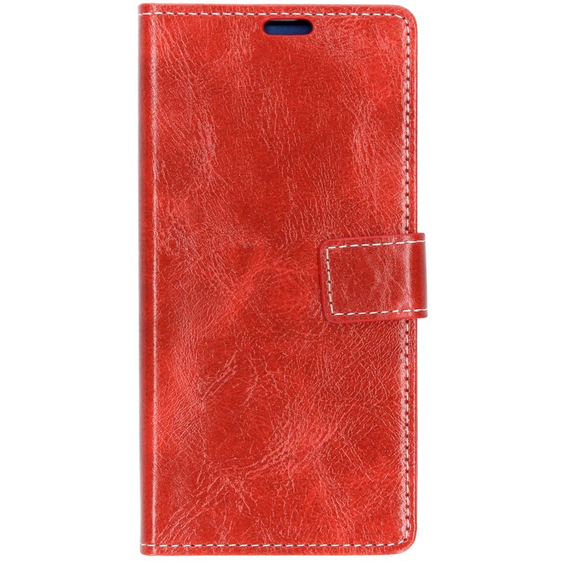 Rood booktype hoes met stiksels Samsung Galaxy S10 Plus