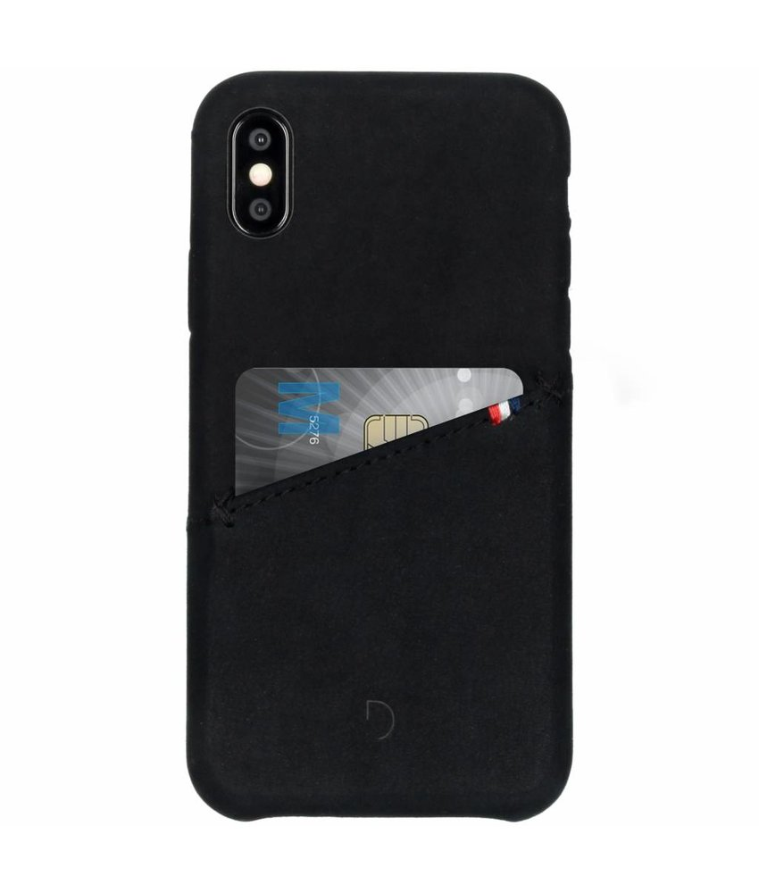 Decoded Leather Snap On Backcover iPhone X - Zwart