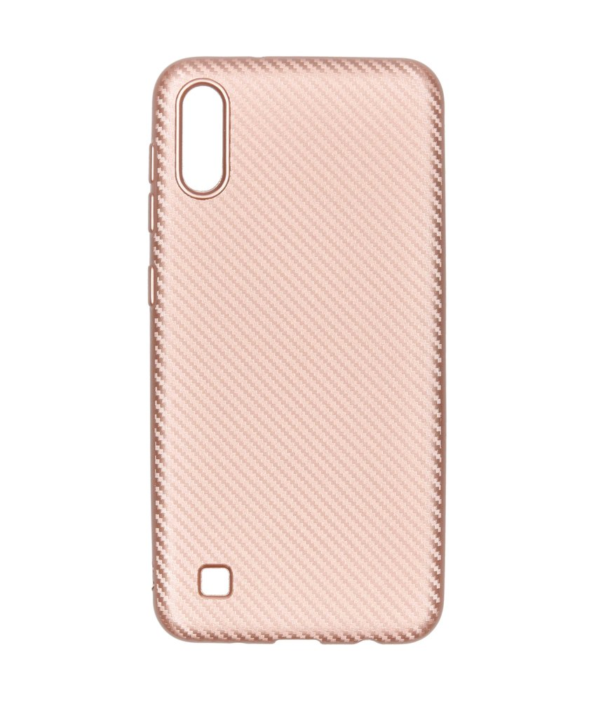 Carbon Softcase Backcover Samsung Galaxy A10 - Rosé Goud