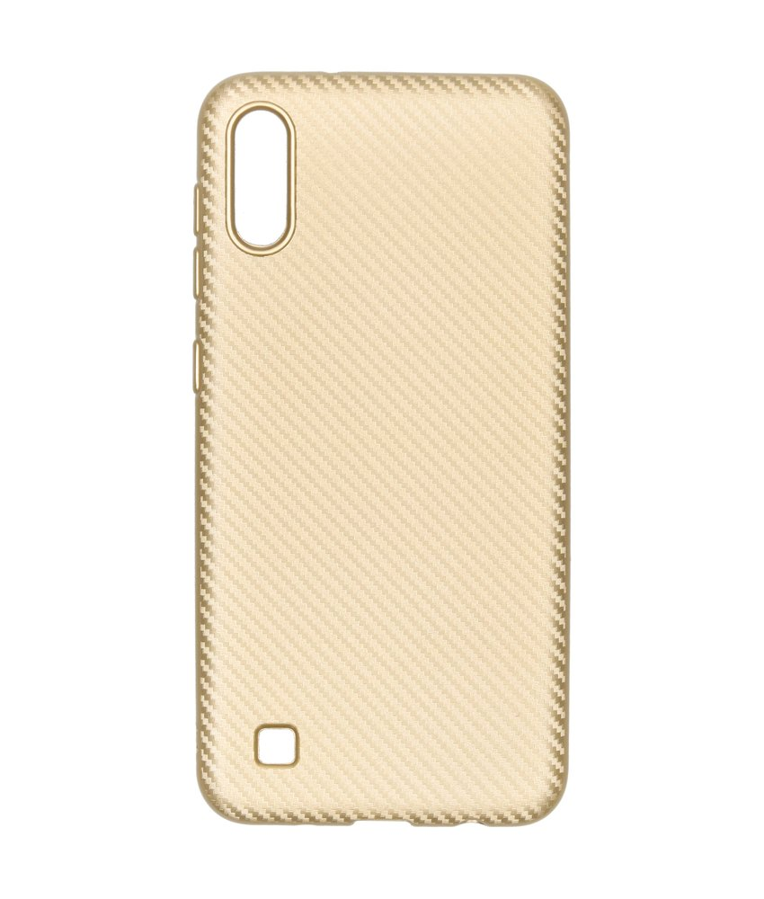 Carbon Softcase Backcover Samsung Galaxy A10 - Goud