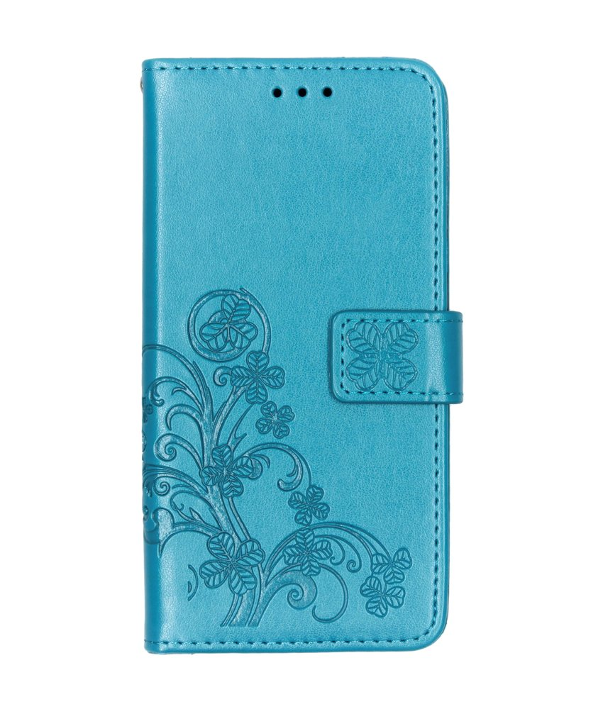 Klavertje Bloemen Booktype Samsung Galaxy A10 - Turquoise