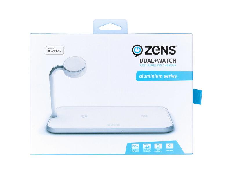 Zens Dual + Watch Fast Wireless Charger - 20 Watt - Wit
