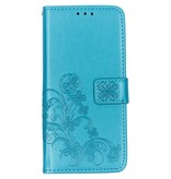 Klavertje Bloemen Booktype voor de Nokia 3.2 - Turquoise