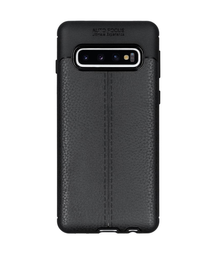 Lederen Backcover met stiksel Samsung Galaxy S10
