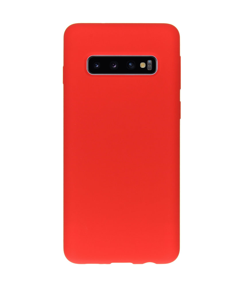 Accezz Liquid Silicone Backcover Samsung Galaxy S10 - Rood