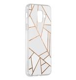 Accezz Design Siliconen Backcover voor de Samsung Galaxy A6 (2018) - Grafisch Wit / Koper
