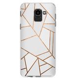 Accezz Design Siliconen Backcover voor de Samsung Galaxy J6 - Grafisch Wit / Koper