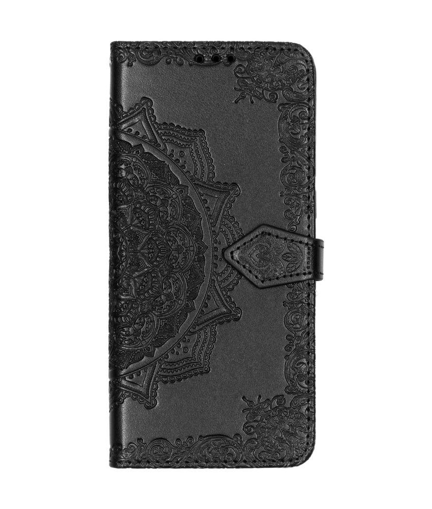 Mandala Booktype Motorola One Vision - Zwart