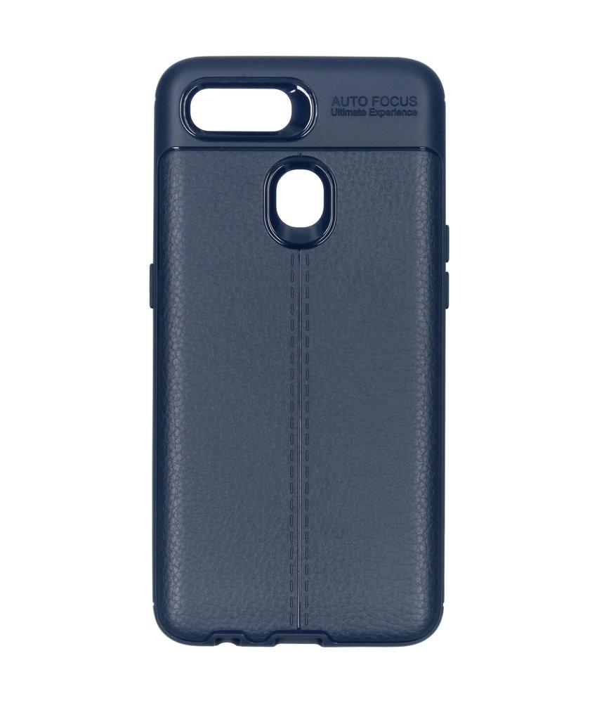 Lederen Backcover met stiksel Oppo AX7 - Donkerblauw
