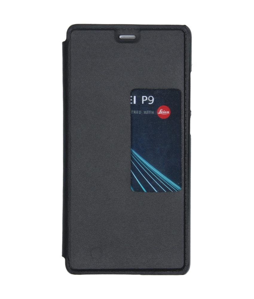 Slim Booktype met venster Huawei P9 - Zwart
