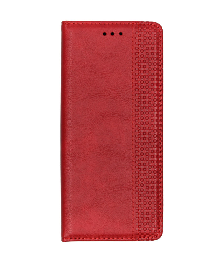 Vintage Style Softcase Booktype Motorola One Vision - Rood