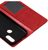 Vintage Style Softcase Booktype voor de Motorola One Vision - Rood