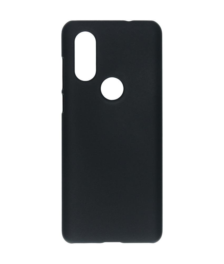 Effen Backcover Motorola One Vision - Zwart