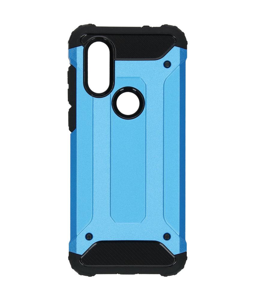 iMoshion Rugged Xtreme Backcover Motorola One Vision - Lichtblauw