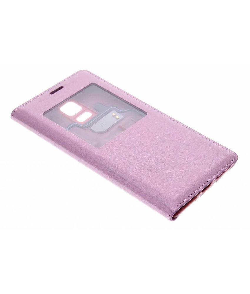 Roze flipcover met venster Samsung Galaxy S5 Mini