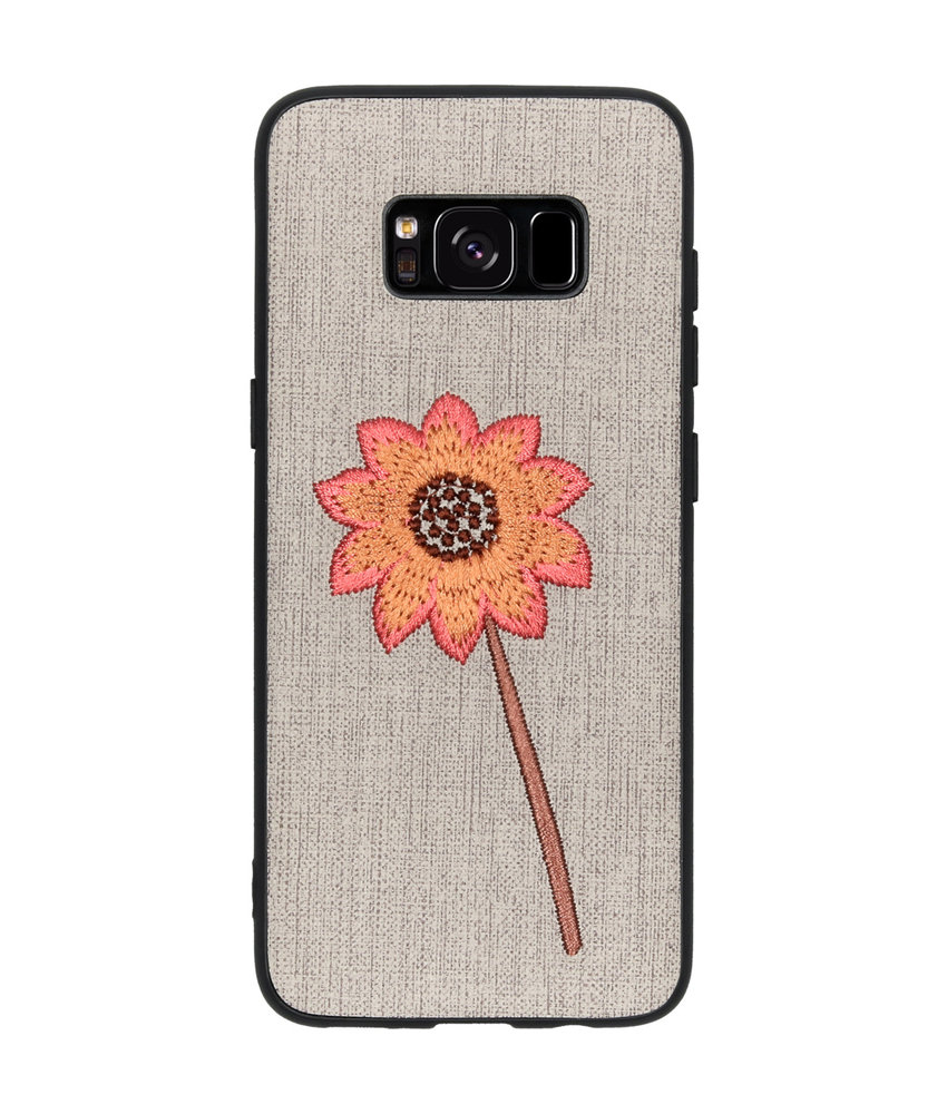 Geborduurde Backcover Samsung Galaxy S8 - Flower Grey