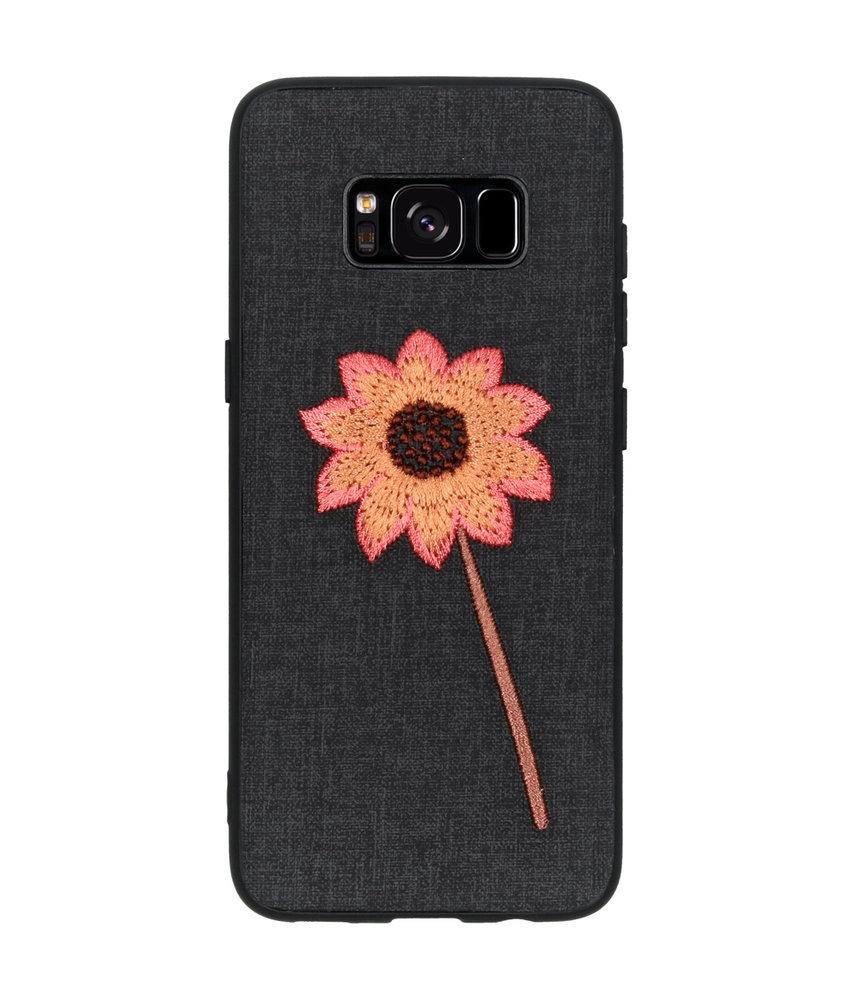 Geborduurde Backcover Samsung Galaxy S8 - Flower Black
