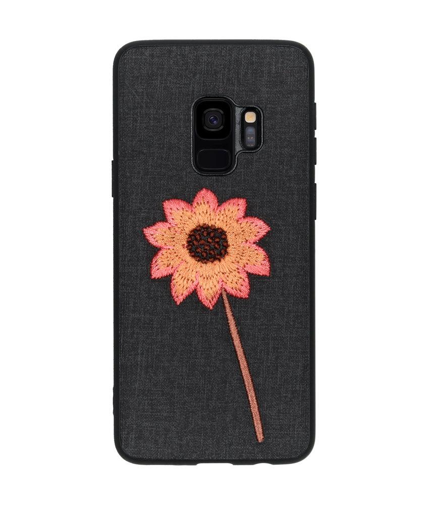 Geborduurde Backcover Samsung Galaxy S9 - Flower Black