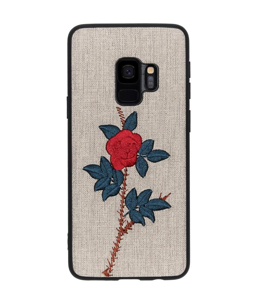 Geborduurde Backcover Samsung Galaxy S9 - Rose Grey