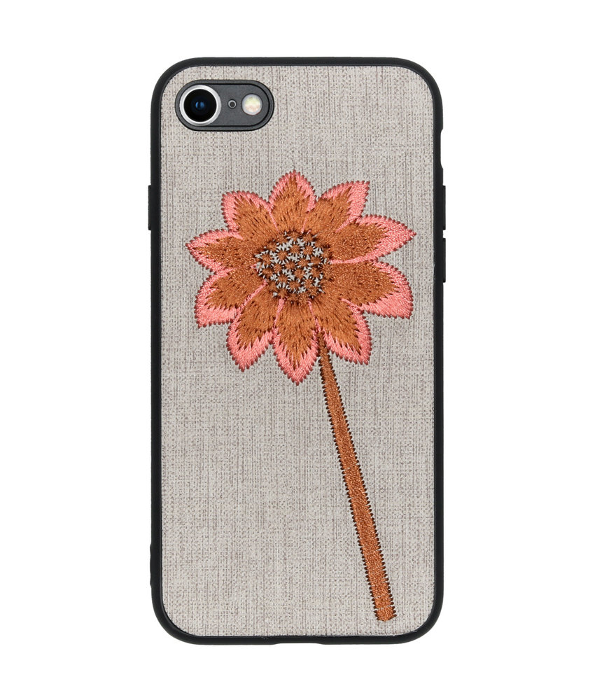 Geborduurde Backcover iPhone 8 / 7 - Flower Grey