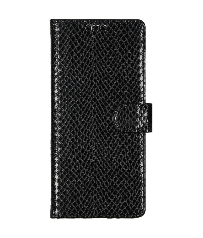 Slangenprint Booktype Samsung Galaxy A70 - Zwart