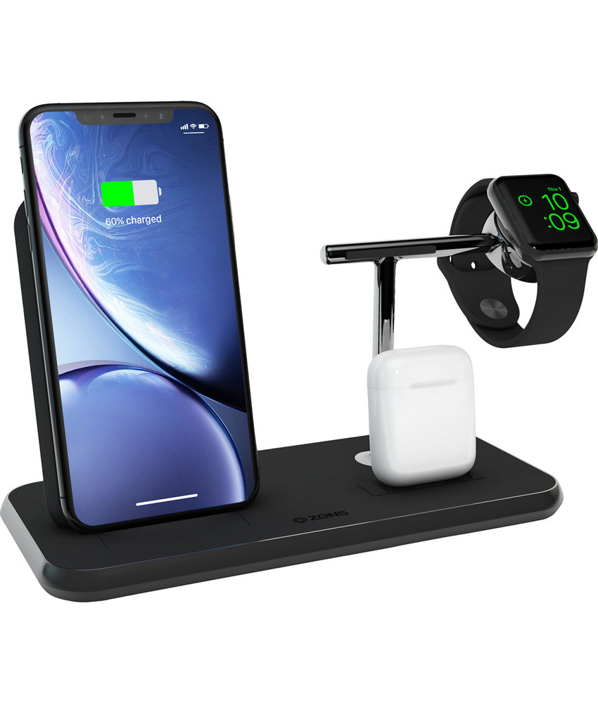 Zens Stand + Dock + Watch Wireless Charger 3 x 20W - Zwart