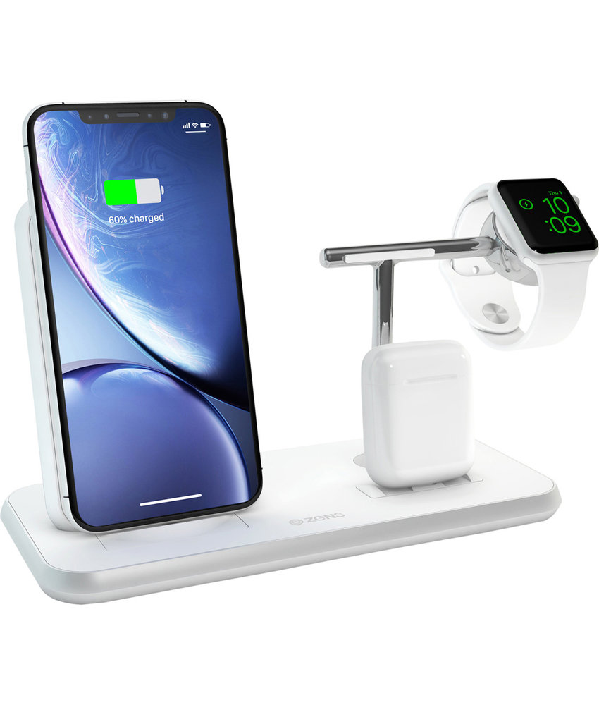 Zens Stand + Dock + Watch Wireless Charger 3 x 20W - Wit