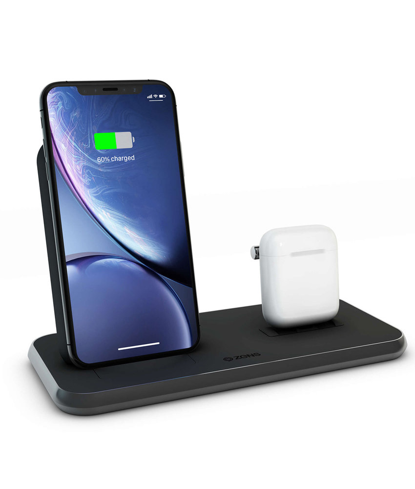 Zens Stand + Dock Aluminium Wireless Charger 2 x 20W - Zwart