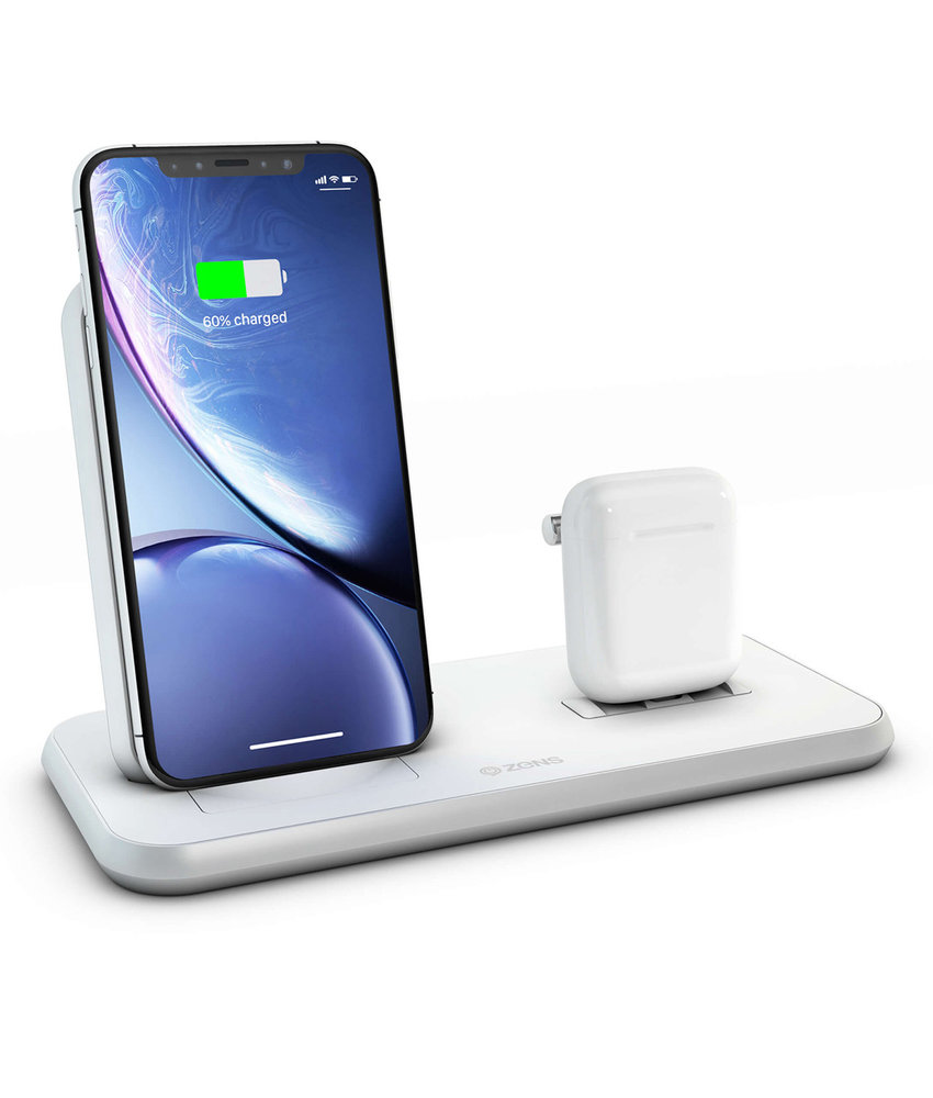 Zens Stand + Dock Aluminium Wireless Charger 2 x 20W - Wit