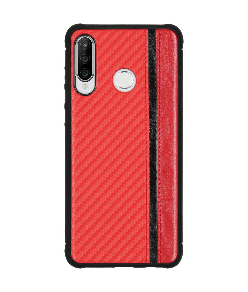 Carbon Design Backcover Huawei P30 Lite - Rood